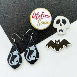 Spooky Cat Tear Drop Earrings